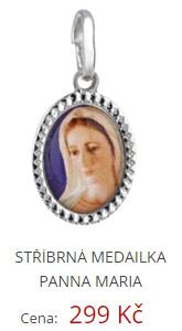 Stříbrná medailka panny Marie