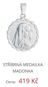 Stříbrná medailka Madonka