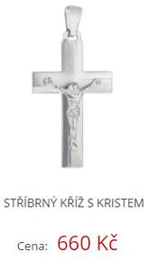 Stříbrný kříž s Kristem